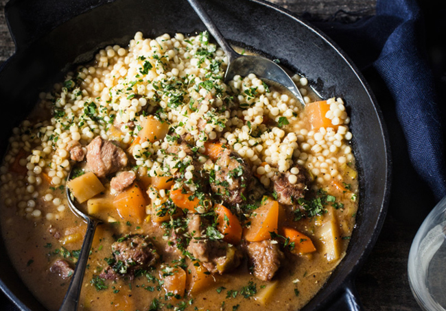 One-Pot Lamb with Winter Roots and Israeli Couscous